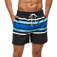 Blue and White Stripe Swim Shorts