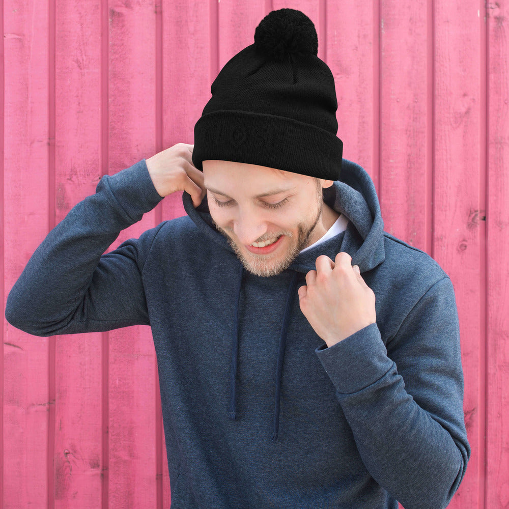 BLACK LETTERS Close Pom-Pom Beanie