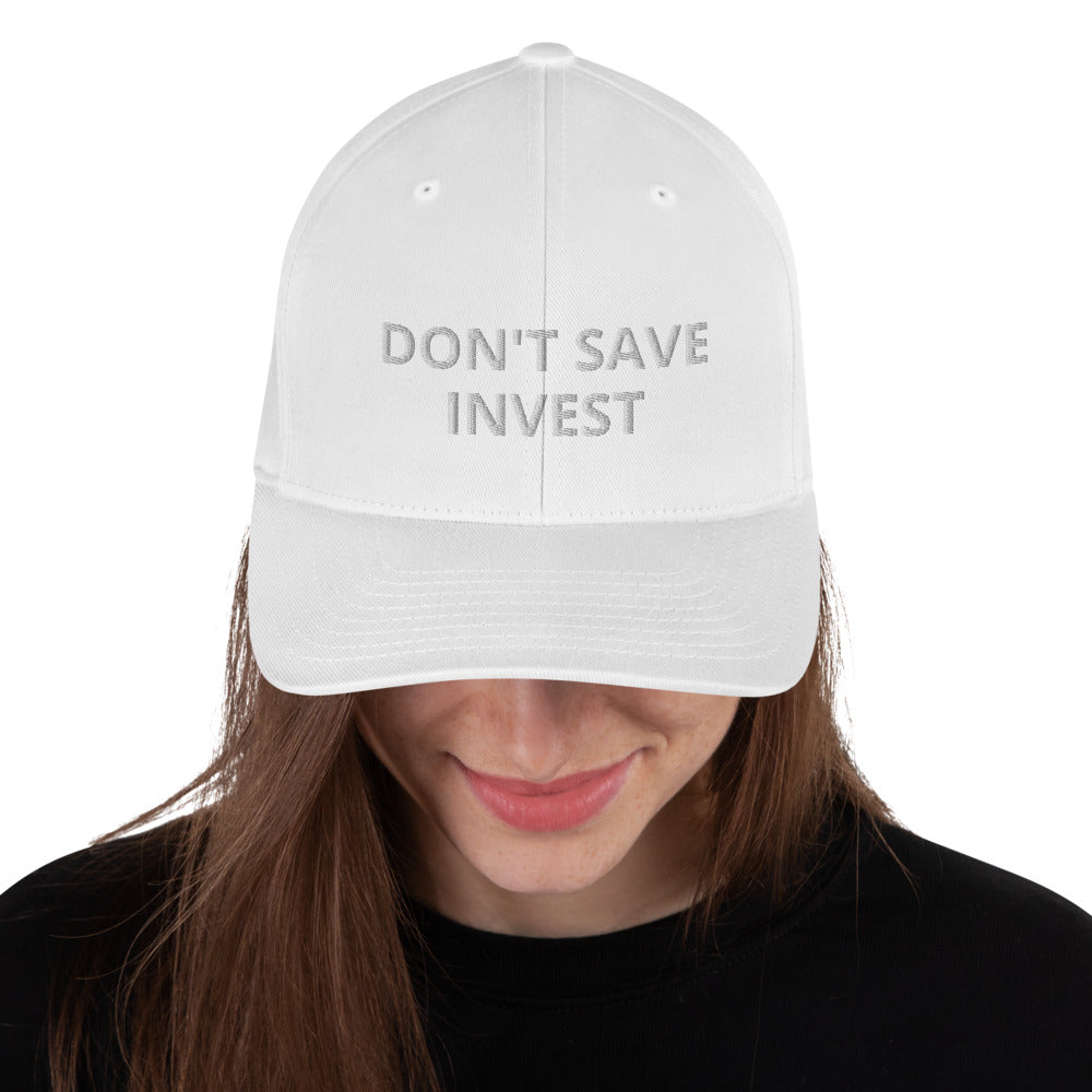 White Dont Save Invest Structured Twill Cap