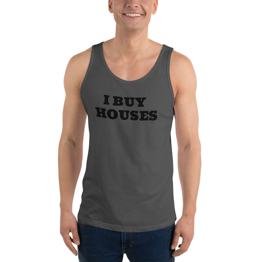 UNISEX BLACK LETTERS I BUY HOUSES Unisex Tank Top
