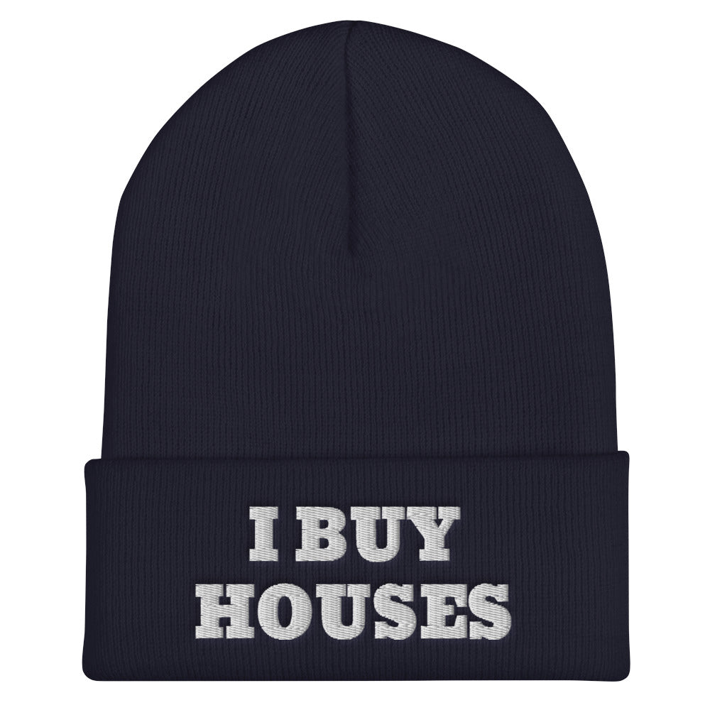 WHITE I BUY HOUSES Cuffed Beanie