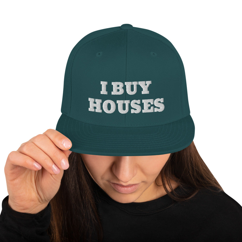 WHITE I BUY HOUSES Snapback Hat