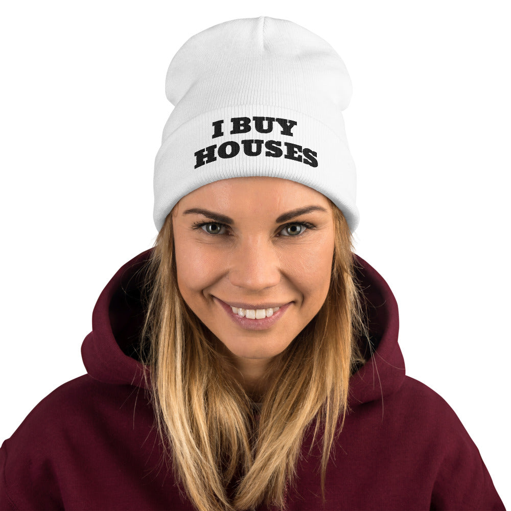 BLACK LETTERS I BUY HOUSES Embroidered Beanie