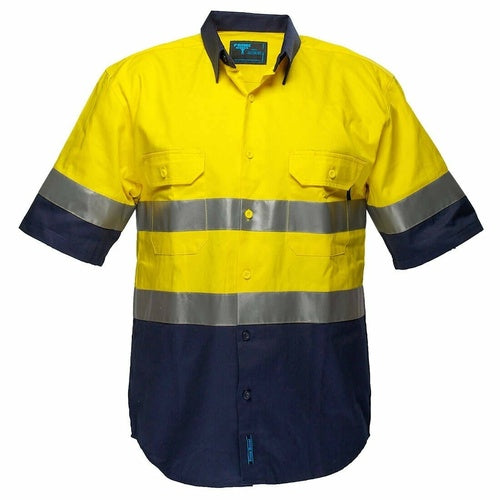 MA102 Hi-Vis Two Tone Regular Weight Short Sleeve Shirt with Tape