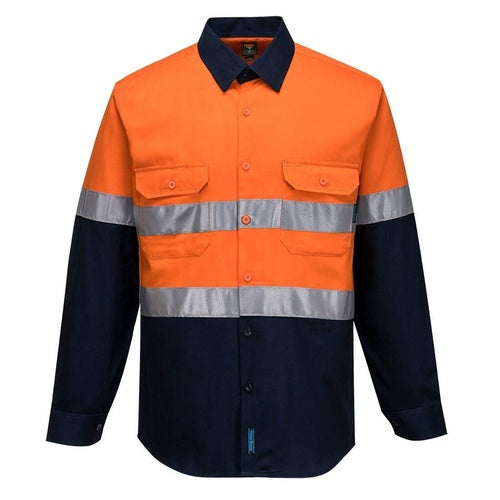 MC101 Hi-Vis Two Tone Regular Weight Long Sleeve Closed Front Shirt with Tape