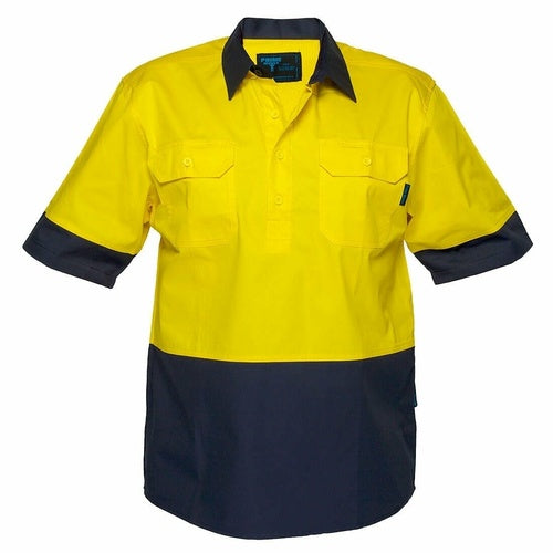 MC802 Hi-Vis Two Tone Lightweight Short Sleeve Closed Front Shirt