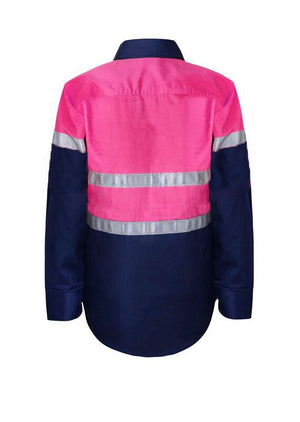 KIDS HI VIS SHIRT WITH REFLECTIVE TAPE -WSK125 Pink Navy