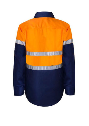 KIDS HI VIS SHIRT WITH REFLECTIVE TAPE -WSK125 Orange Navy