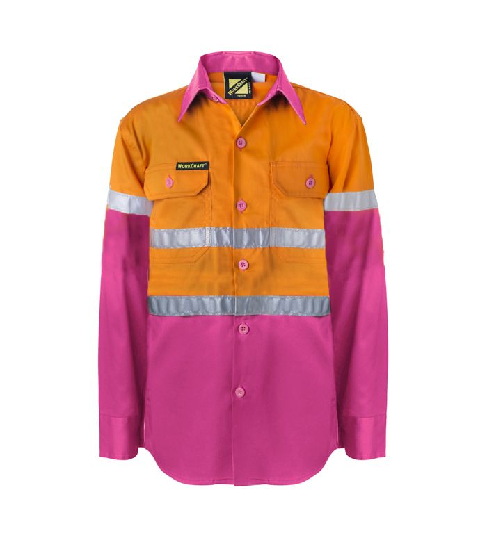 KIDS HI VIS SHIRT WITH REFLECTIVE TAPE -WSK125 Orange Pink