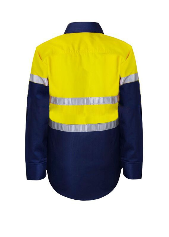 KIDS HI VIS SHIRT WITH REFLECTIVE TAPE -WSK125 Yellow Navy