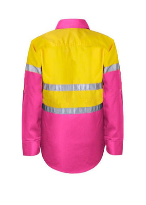 KIDS HI VIS SHIRT WITH REFLECTIVE TAPE -WSK125 Yellow Pink