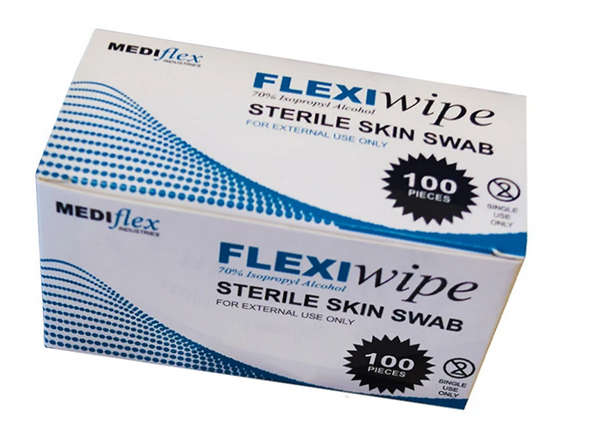 FLEXIWIPE ISOPROPYL ALCOHOL WIPES - 100 PER BOX
