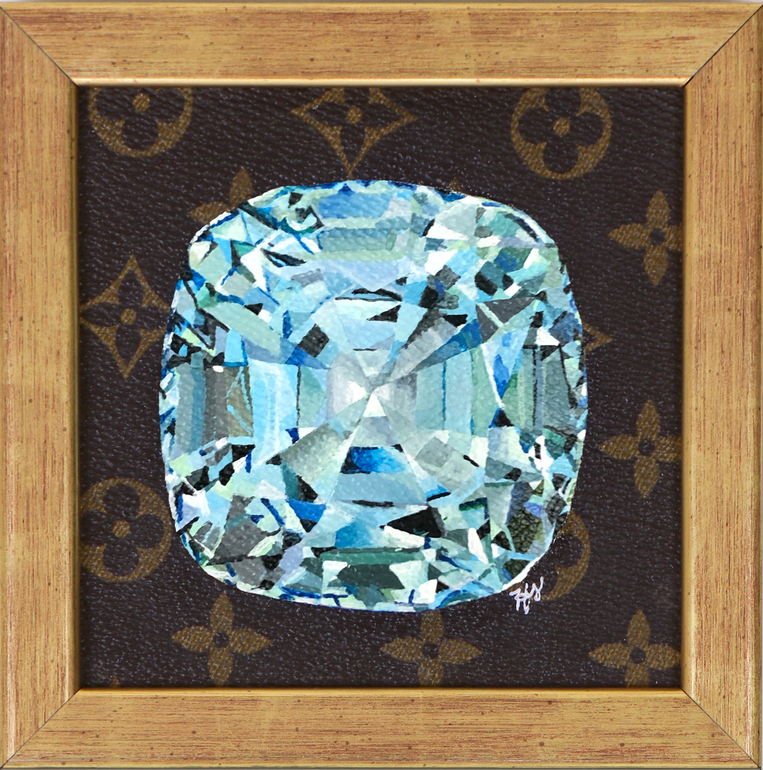 Blue Cushion Diamond 5 x 5