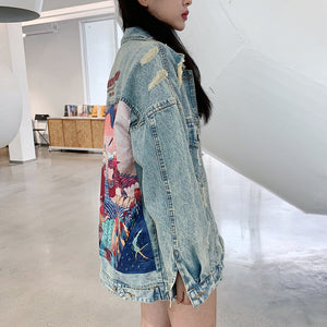Cartoon Print Long Denim Jacket