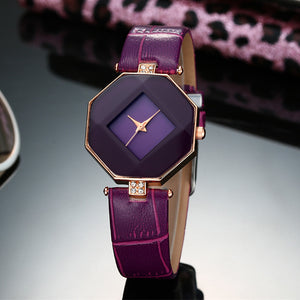 Gem Cut Leather Wristwatch