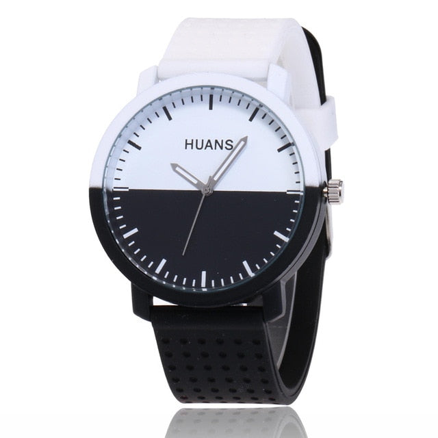 Black and White silicone watch