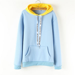 Blue Yellow Patchwork Hoodie