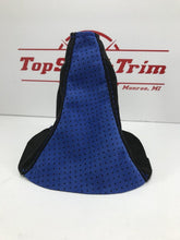 Load image into Gallery viewer, 02-07 Subaru WRX and STI Shift Boot Black And Blue Perforated Suede