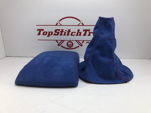 02-04 WRX and STI Shift Boot And Armrest Blue Suede