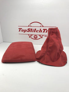 02-04 WRX and STI Shift Boot And Armrest Red Suede