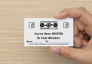 Pennsylvania Subaru Club Spotted Cards
