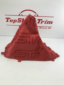 2015-2018 Subaru WRX STI Shift Boot And Brake Boot Red Suede STI Logo Gradation