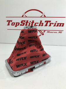 2015-18 Subaru Impreza WRX CVT Shift/Brake Boot Combo Red Suede Black Repeating Logo