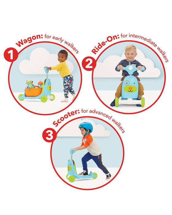 Zoo 3-In-1 Wagon/Ride On/Scooter Toy, Dog - Preggy Plus