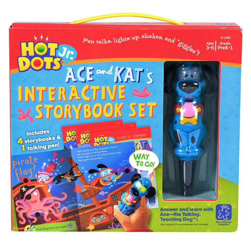 Hot Dots® Jr. Interactive Storybooks - 4 Book Set with Ace—the Talking, Teaching Dog® Pen - Preggy Plus