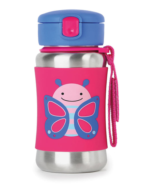 Skip Hop Stainless Steel Little Kid Straw Bottle, Butterfly - Preggy Plus