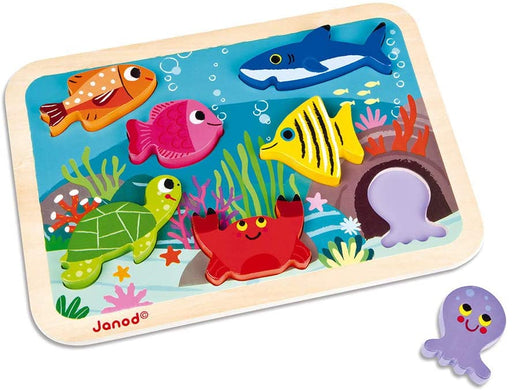 Janod Chunky Puzzle - 7-Piece Colorful Wooden Marine - Preggy Plus