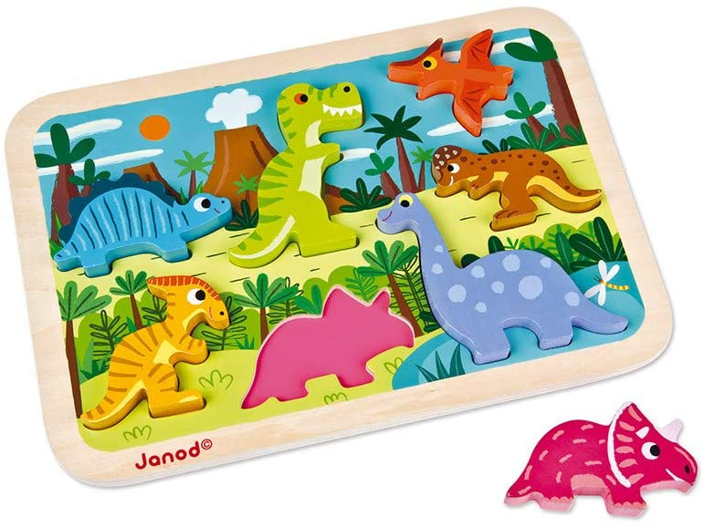 JANOD  CHUNKY PUZZLE DINOSAURS 7 PIECES (WOOD) - Preggy Plus