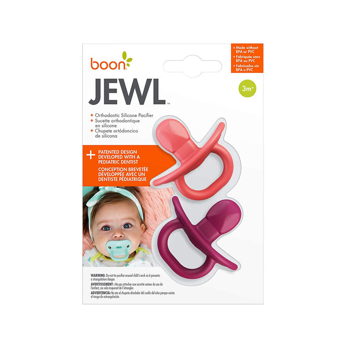 Boon Jewl Orthodontic Silicone Stage 2 Pacifier, Pink, (Pack of 2) - Preggy Plus