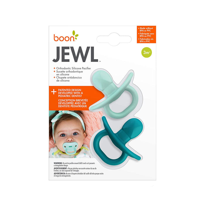 Boon Jewl Orthodontic Silicone Stage 2 Pacifier, Blue, (Pack of 2) - Preggy Plus