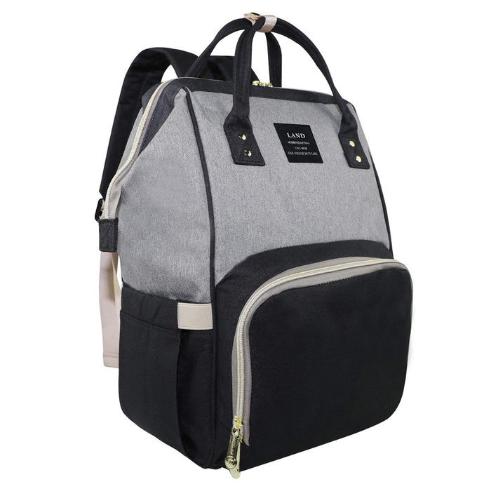 Vakabva Diaper Bag Backpack, Black & Gray - Preggy Plus