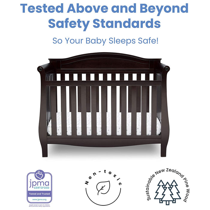 Delta Children Lancaster 4-in-1 Convertible Baby Crib, Dark Chocolate (552150-207) - Preggy Plus