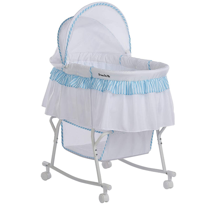 Dream On Me Lacy Portable 2-in-1 Bassinet, Blue/White - Preggy Plus