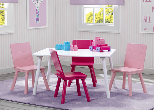 Delta Kids Table & 4 Chairs Set - White/Pink - Preggy Plus