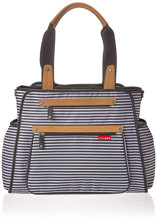 Skip Hop Grand Central Diaper Bag, Black & White Stripe - Preggy Plus