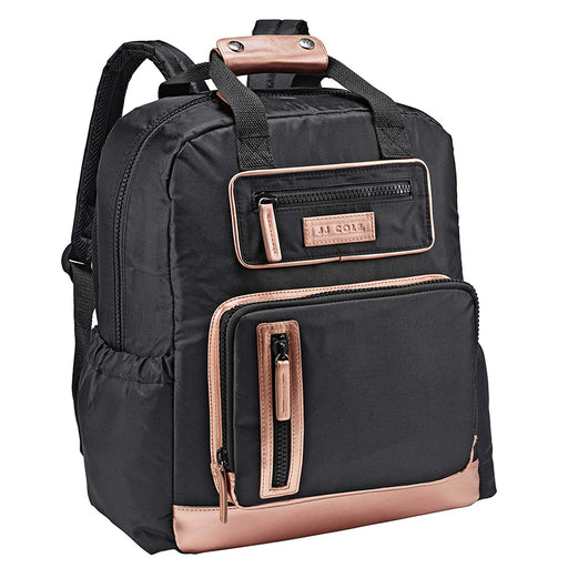 JJ Cole Papago Pack Diaper Bag, Black and Rose Gold. - Preggy Plus