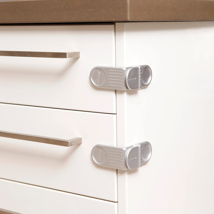 Dreambaby Angle Locks for Corner Drawers/Cabinets - 2 Pack - Silver - Preggy Plus