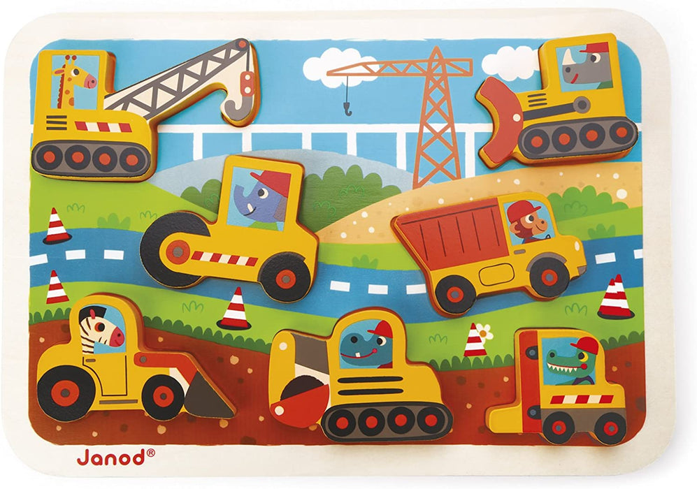 JANOD CHUNKY PUZZLE CONSTRUCTION SITE 7 PIECES (WOOD) - Preggy Plus