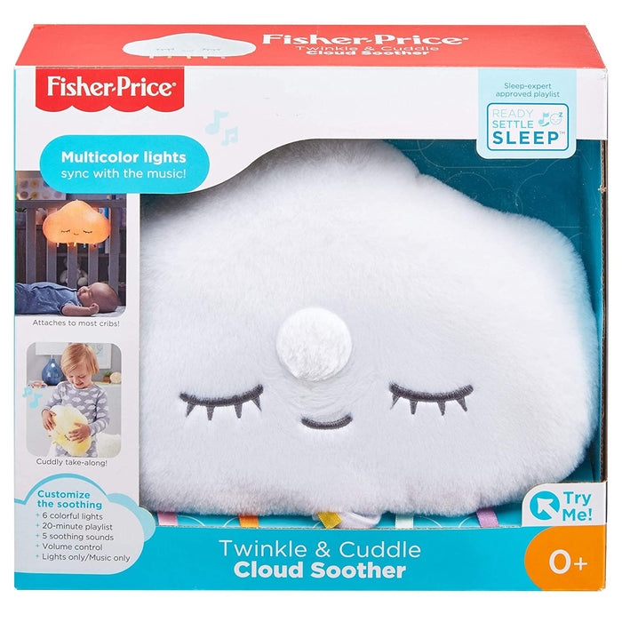 Fisher-Price Twinkle & Cuddle Cloud Soother, Plush Crib-Attach Baby Soother - Preggy Plus