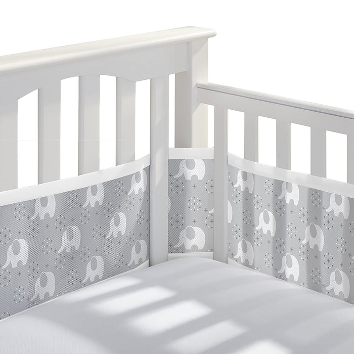 Classic Breathable Mesh Crib Liner – Peaceful Elephant Gray - Preggy Plus