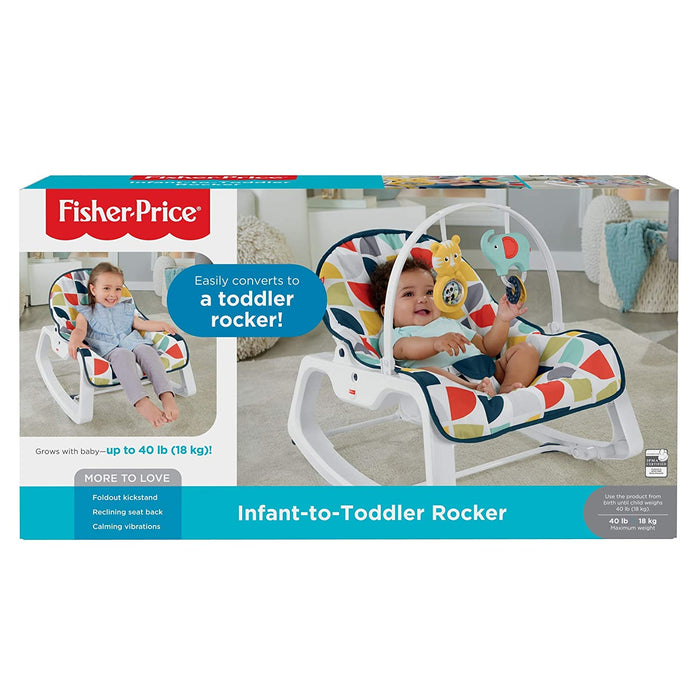 Fisher Price Infant-to-Toddler Rocker - Colourful Pinwheels GDP60 - Preggy Plus