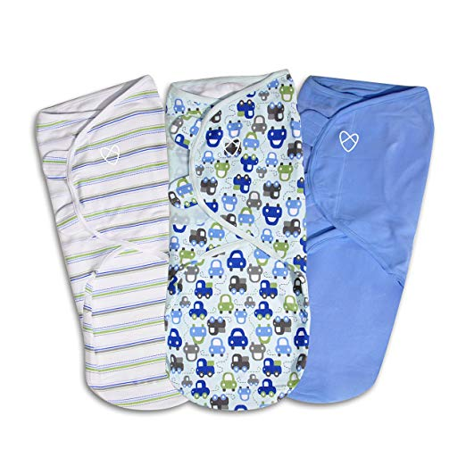 SwaddleMe Original Swaddle, Graphic Car, 3 Pack - Large - Preggy Plus