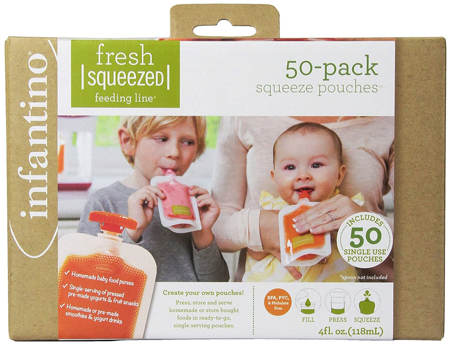 Infantino Squeeze Pouches, 4-Fl Oz,50 count - Preggy Plus