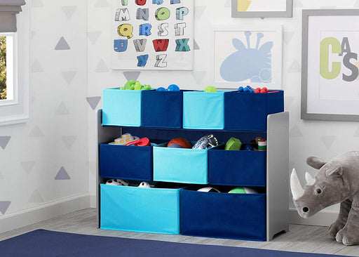 Deluxe Multi-Bin Toy Organizer with Storage Bins, Grey and Blue - Preggy Plus
