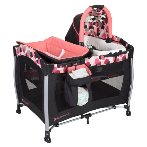 Baby Trend Resort Elite Nursery Center and Portable Bassinet Rocker with Music & Vibration, Dotty