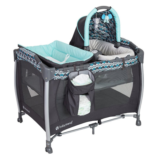Baby Trend Resort Elite Nursery Center and Portable Bassinet Rocker with Music & Vibration, Laguna - Preggy Plus